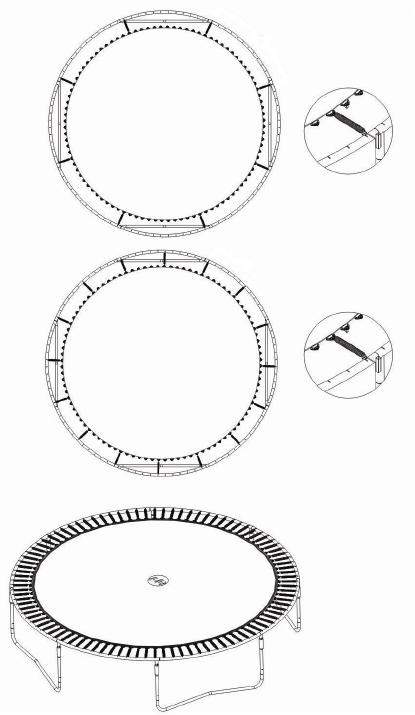 Trampoliinin jousien ja maton asentaminen | Trampoliinin asennusohje kuva 4